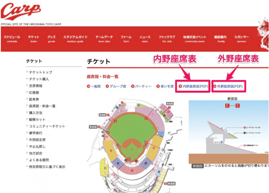 広島カープのホームページの画像